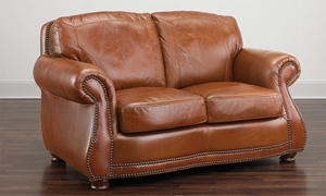 Rocky Mountain Leather Top Grain Leather Loveseat Brandy Alligator