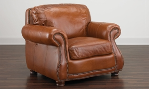 Rocky Mountain Leather Top Grain Leather Armchair Brandy Alligator