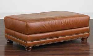 Rocky Mountain Leather Top Grain Leather Cocktail Ottoman Brandy Alligator