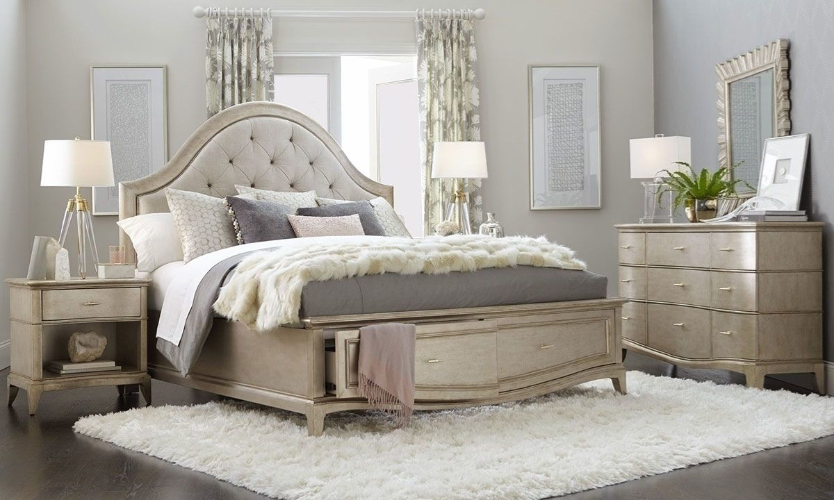A.R.T. Starlite Glam Upholstered King Storage Bedroom