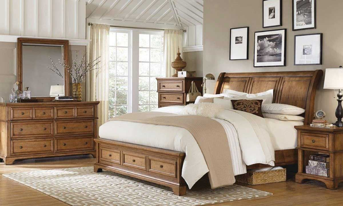 Picture of aspenhome Alder Creek King Sleigh Storage Bedroom