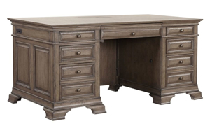 Executive style 72-inch desk with 7 full extension drawers and 2 power outlets in brushed truffle brown finish with copper knobs