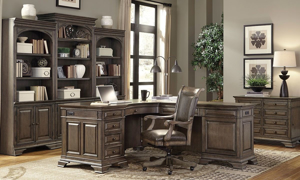 Complete home office with executive desk, chair and triple bookcase in truffle brown finish from Aspenhome