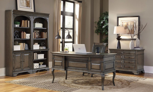 Complete home office with pedestal desk and double bookcase in truffle brown finish