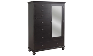 Classic 69-inch tall chiffarobe with four drawers, two cabinets, clothing rod and mirror in distressed black finish