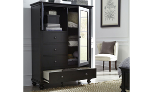 Classic 69-inch tall chiffarobe with open cabinet and lower drawer in distressed black finish