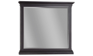 46-inch wide beveled mirror with crown molding frame in distressed black finish