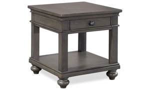 Classic end table with lower shelf and storage drawer in peppercorn gray finish
