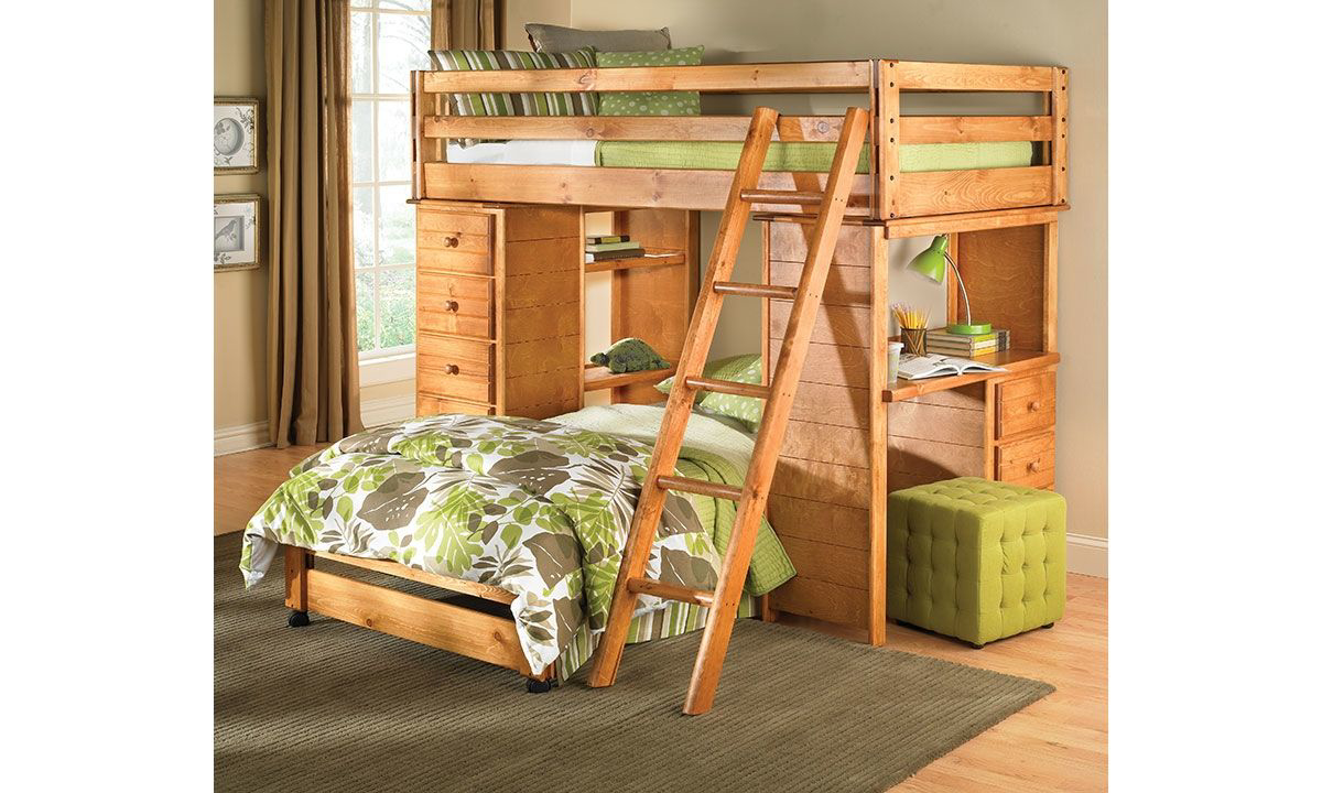 Picture of Bunkhouse Solid Pine Twin Study Loft Bed