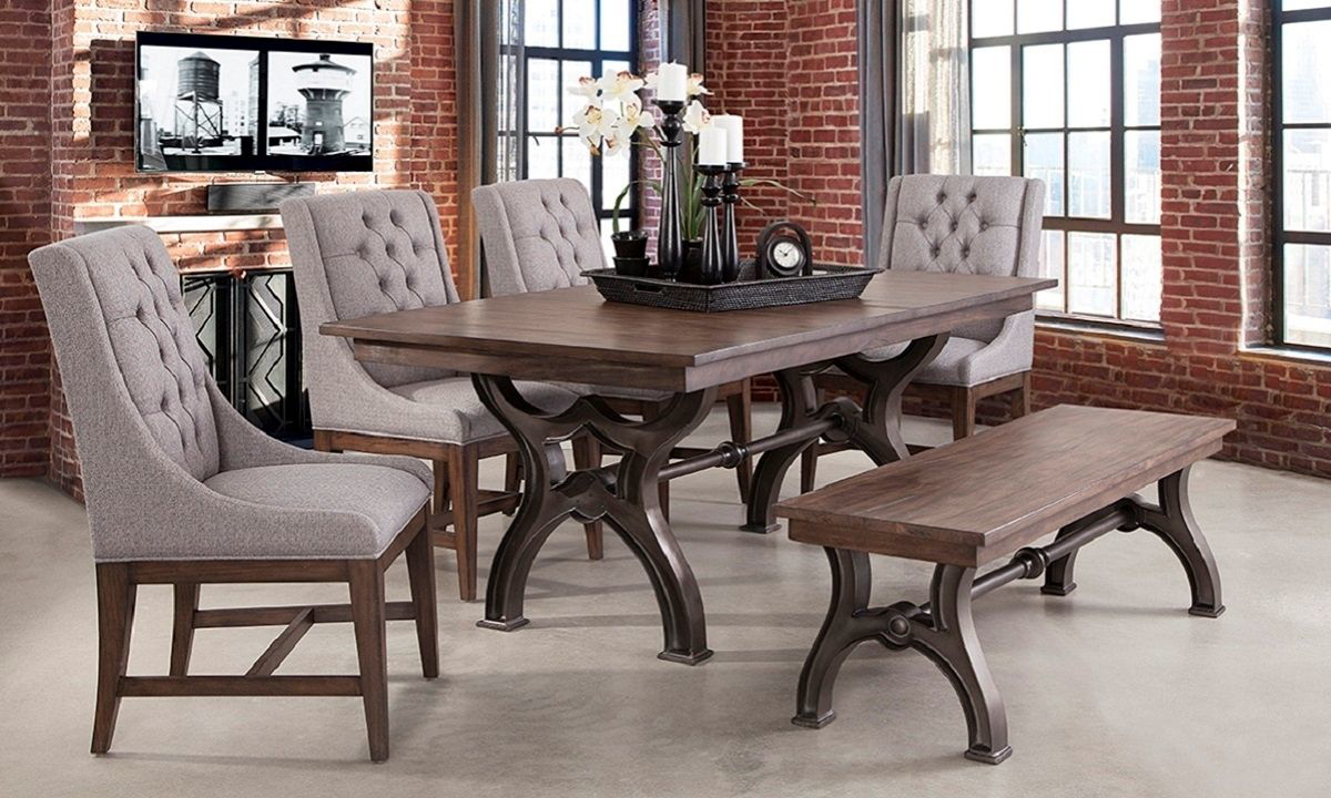 Picture of Davidson 6-Piece Traditional Metal Trestle Dining Set