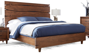 Contemporary solid pine bed with live edge panel in rustic brown finish