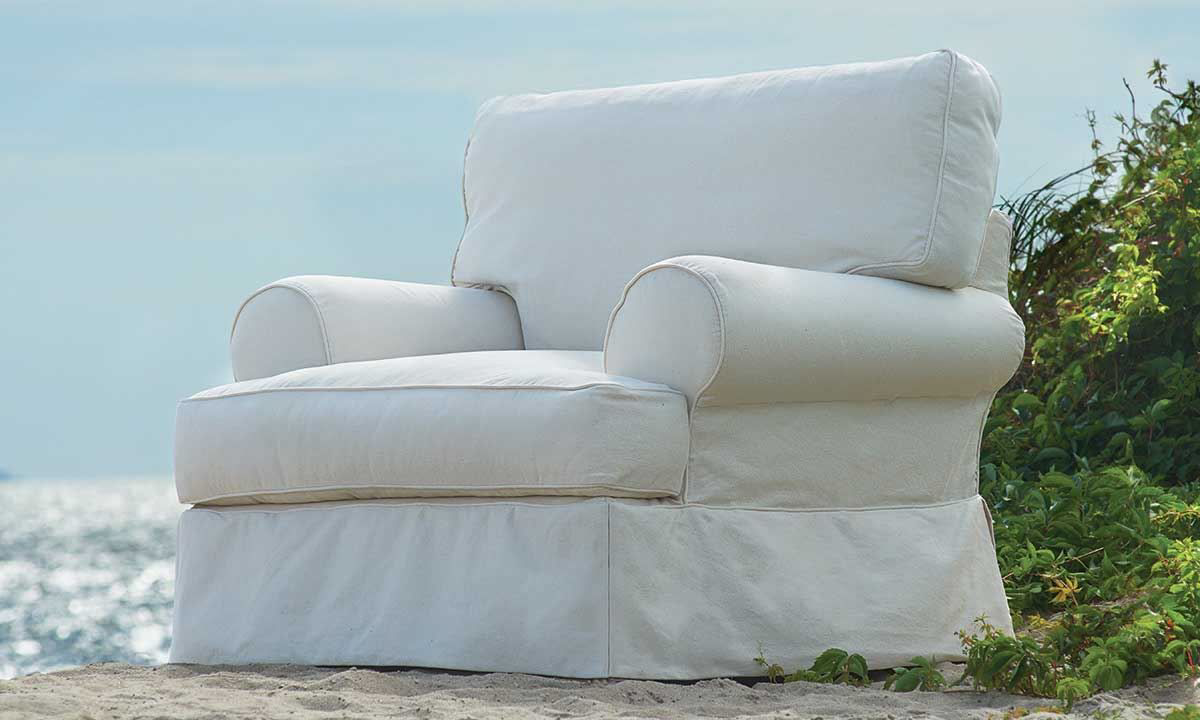 Picture of Two Lanes Dock Landing Slipcovered Arm Chair