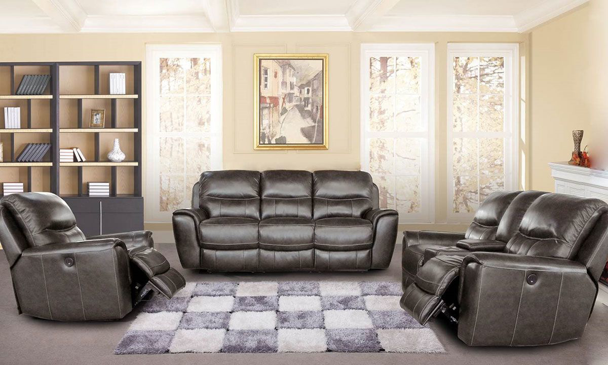 Haynes Furniture Sterling Leather Power Reclining 3 Piece Living Room Set