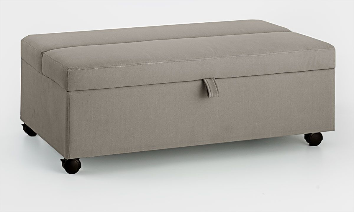 Picture of Grey Stain Resistant Twin Sleeper Ottoman with Casters