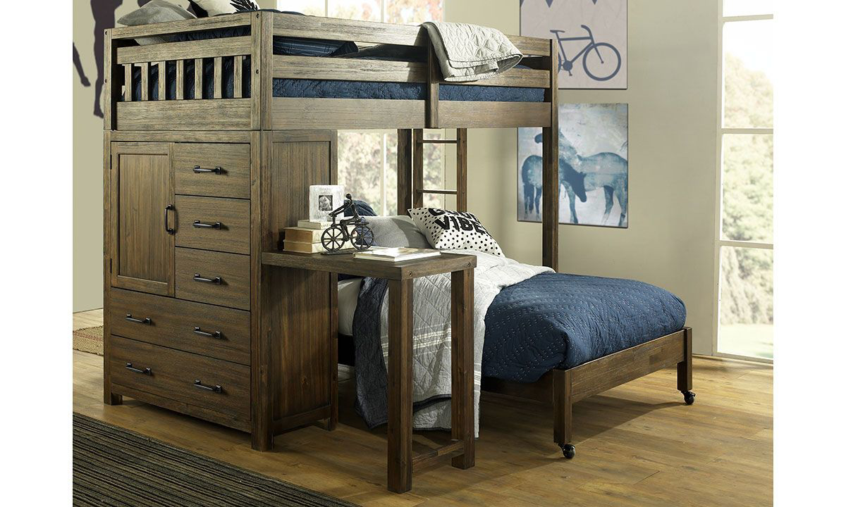 Picture of St. Croix Walnut Twin Over Full Storage Loft Bed with Desk Set