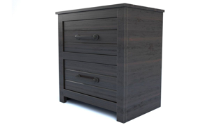 Picture of Hillsdale Villa Black 2-Drawer Nightstand with USB