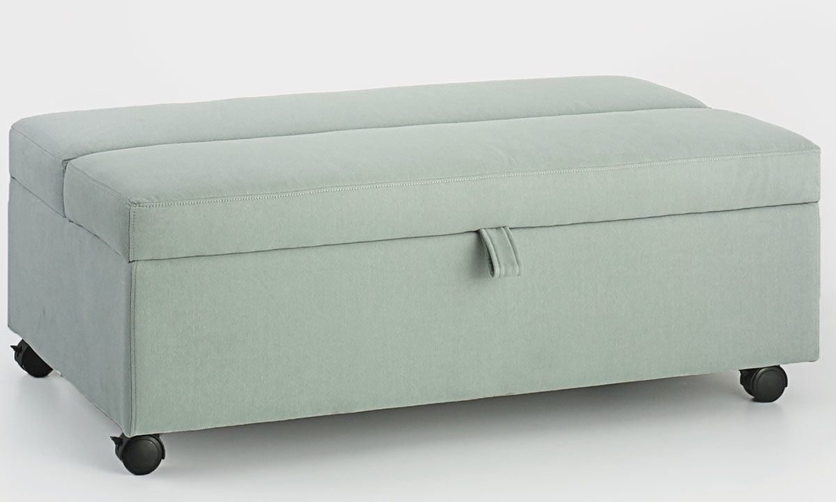 Light Blue Stain Resistant Twin Sleeper Ottoman with Casters