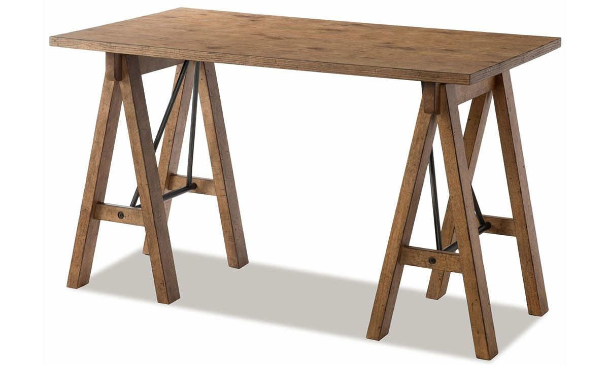 Rustic saw horse style 60-inch wood desk in wheat finish from Trisha Yearwood