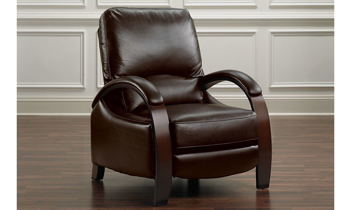 Valdosta Chocolate Bent Arm High Leg Recliner