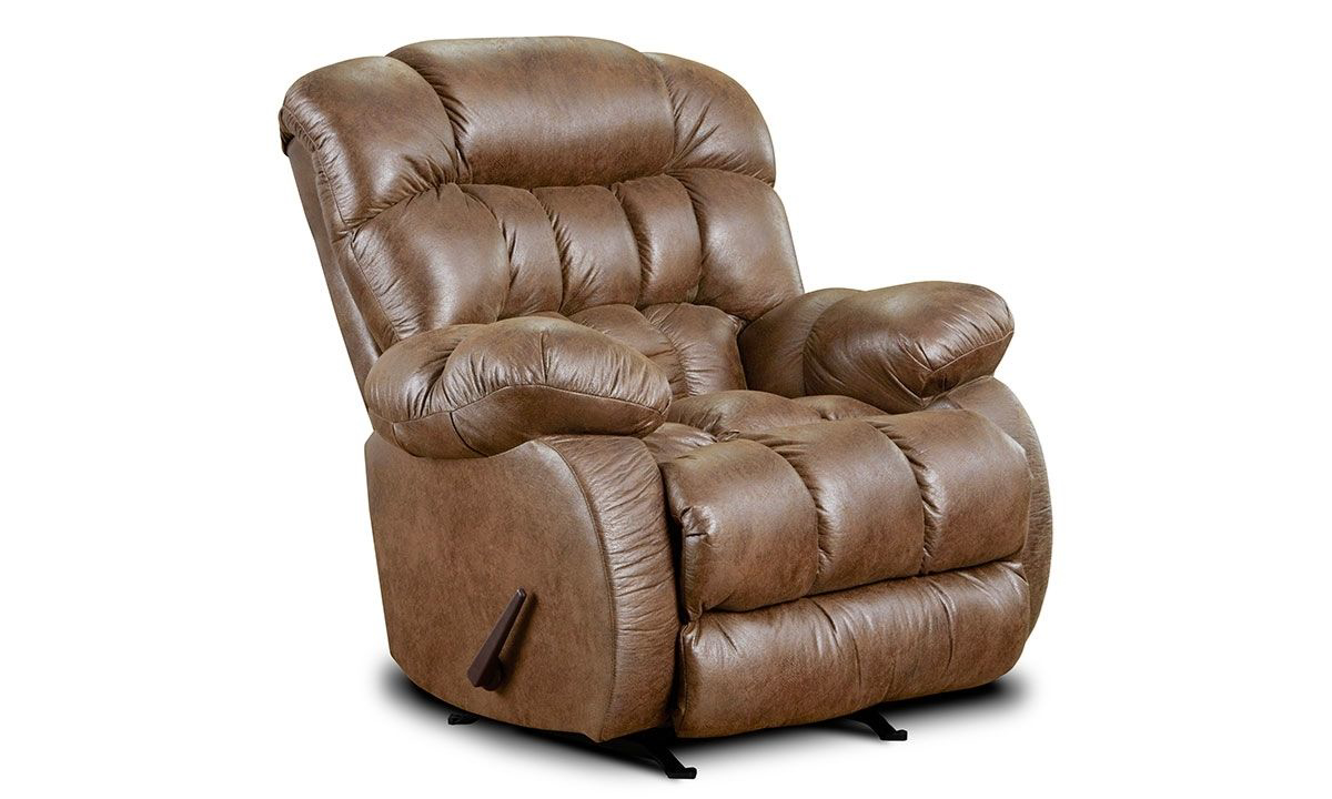Overstuffed pillowback manual recliner with rocker in almond brown upholstery.