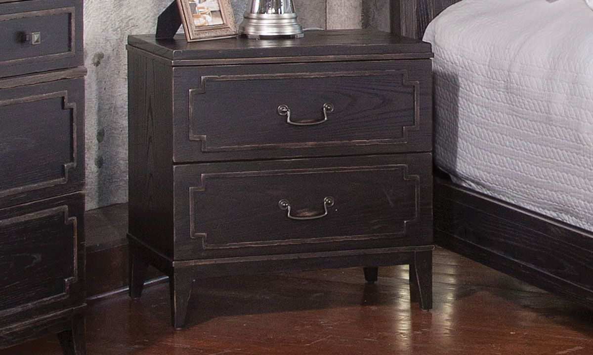 Traditional 2-drawer nightstand with scalloped molding and drawer pulls in rubbed black finish