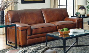 Picture of Stampede 91-Inch Top-Grain Leather Contemporary Sofa