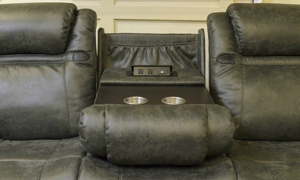 Rebel Grey Power Reclining Sofa with Drop Down Table & USB Ports