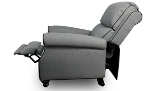 Classic Grey Roll Arm Recliner with Contrast Welt