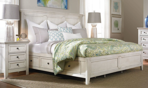 Picture of San Mateo White Arts & Crafts King Storage Bed