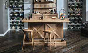 Picture of Oozlefinch Taps Blonde Saddle Style Bar Stool