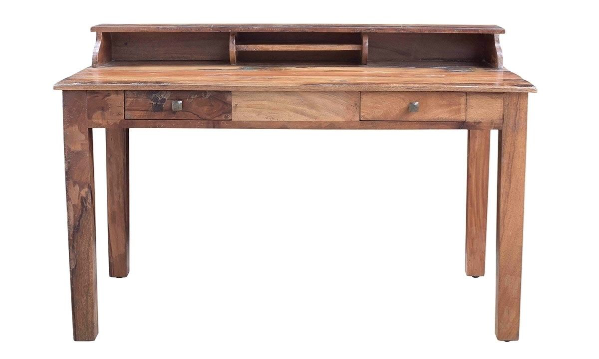 Handmade 54-inch solid wood desk with two pull out drawers and built in paper trays in distressed teak wood with hammered iron knobs.