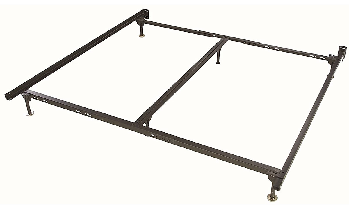 King-size recycled steel bed frame with 6 legs.