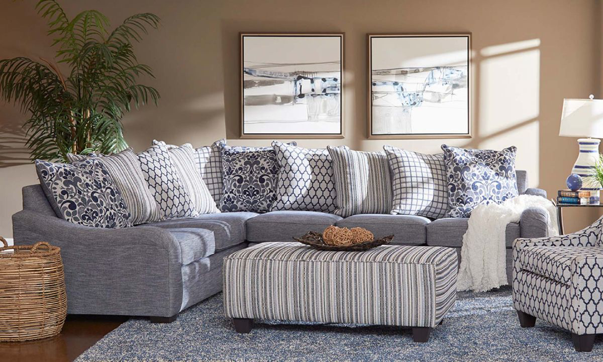 Tangier Blue Charles of London Scatter Back Sectional