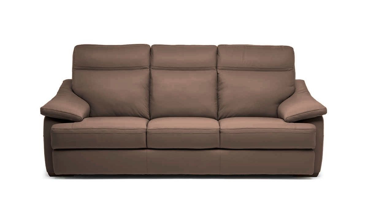"""Contemporary 98"""" Natuzzi power reclining sofa with built in usb charge ports, pillow top arms, & adjustable headrest in a brown top-grain Italian leather."""
