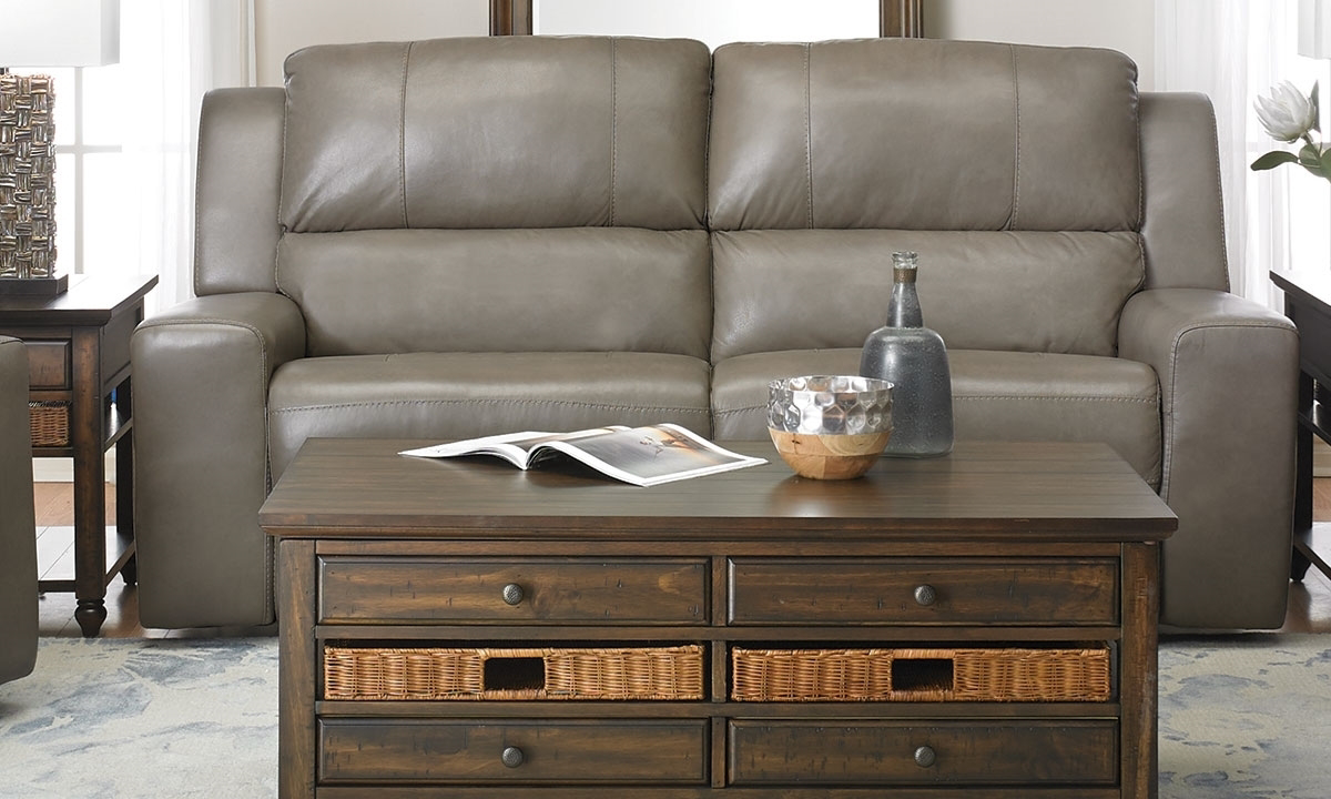 Contemporary Leather Power Reclining Sofa with Power Headrest