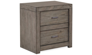 Modern 2-drawer nightstand with industrial bar pull hardware and USB power outlets in greystone finish