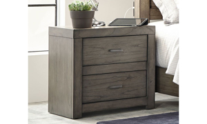 Contemporary 2-drawer nightstand with industrial bar pull hardware in greystone finish