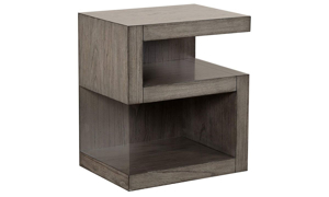 Modern, scupltural style S-shaped 25-inch nightstand with dual shelves in greystone finish