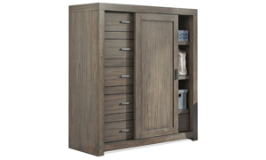 Modern bedroom room storage includes 6 storage drawers and 2 shelves with sliding door in greystone finish