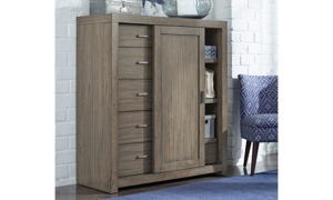 Contemporary sliding door chest with 6-storage drawers and 2 shelves in greystone finish