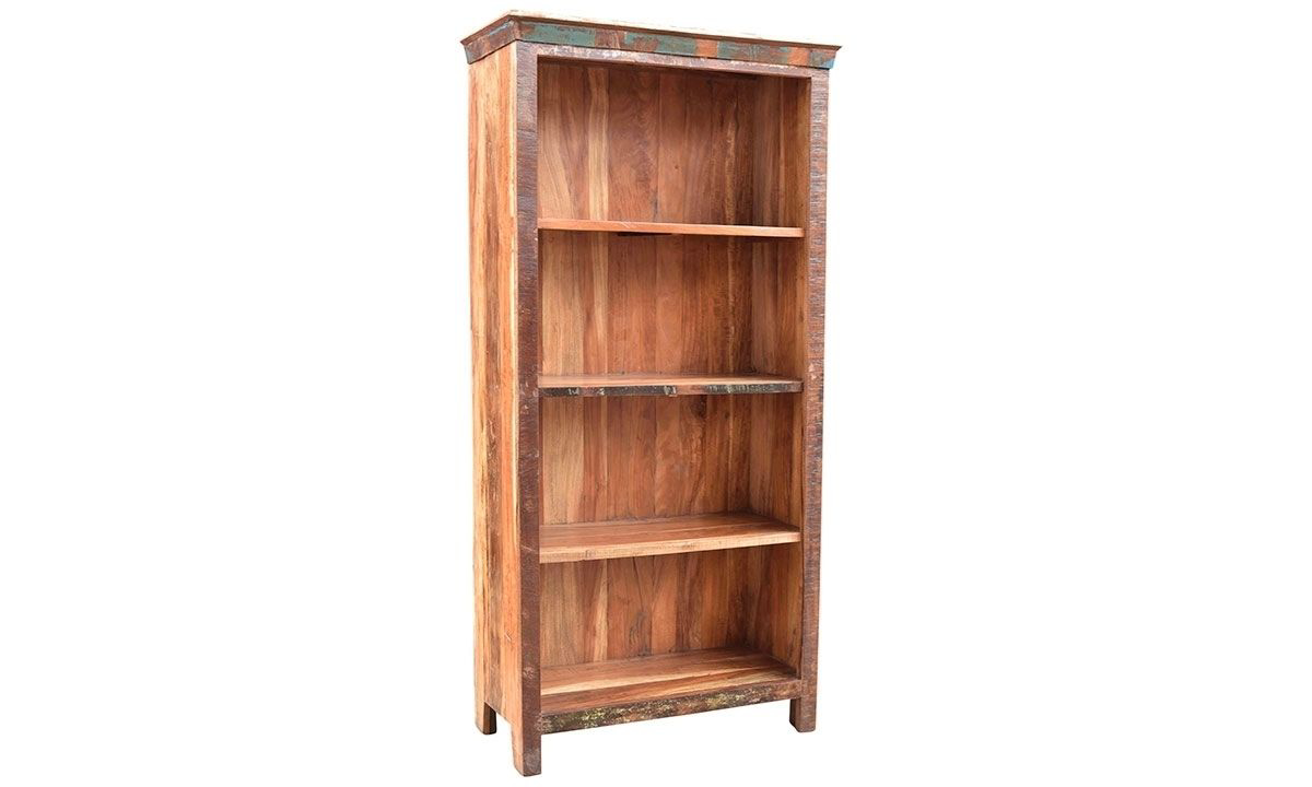 72-inch tall open 4-shelf teak and solid wood bookcase in a  rustic distressed finish - angled view