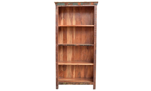 72-inch tall open 4-shelf teak and solid wood bookcase in a rustic distressed finish - front view
