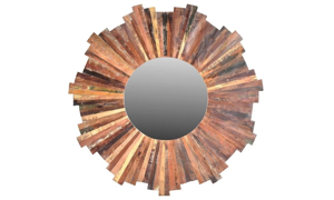 Picture of Lotus Handmade Solid Wood Sunburst Mirror