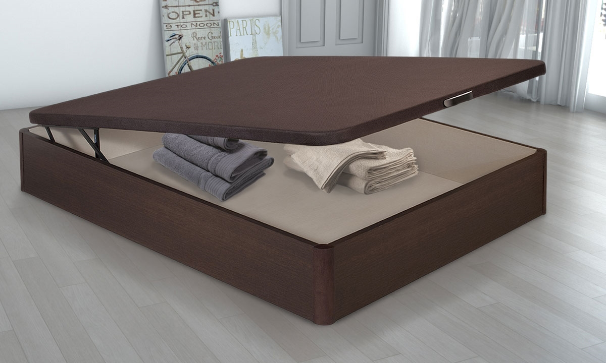 Queen-Size Storage Platform Bed Base Brown