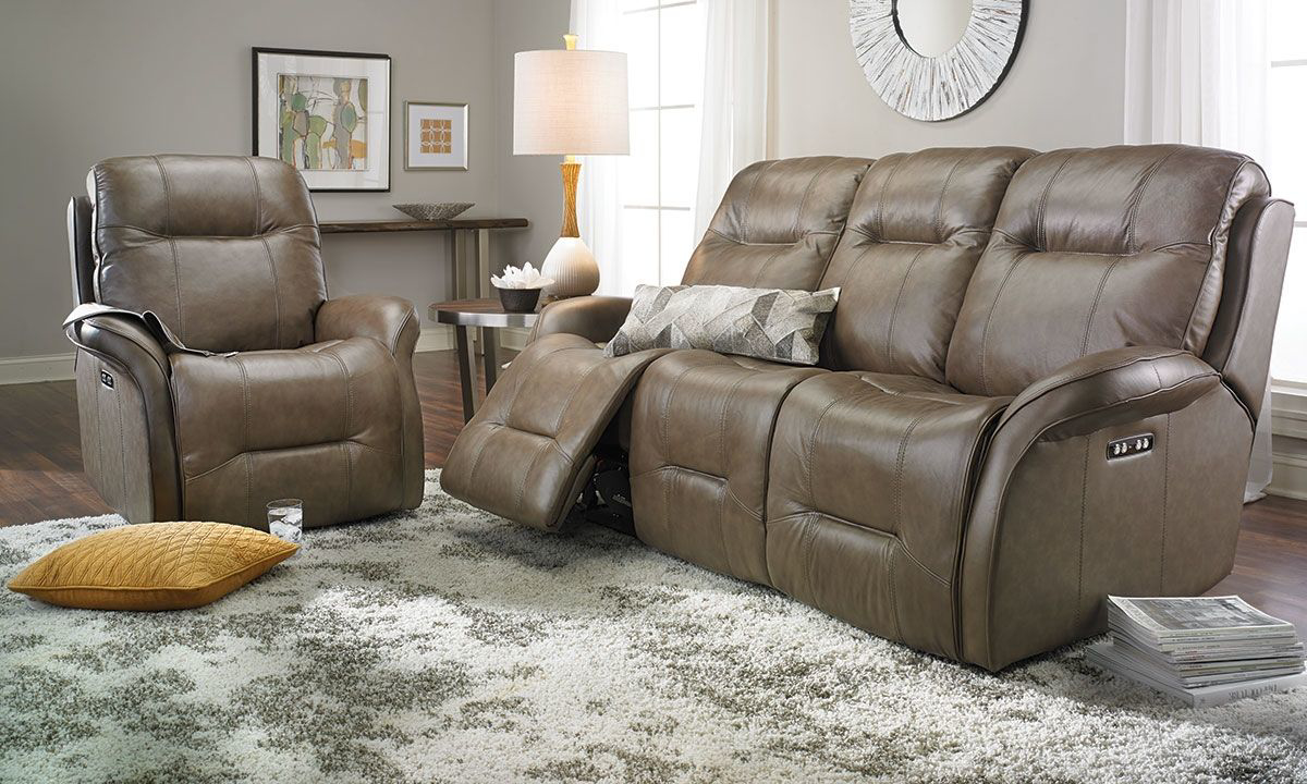 Leather Reclining Sofa With Headrests