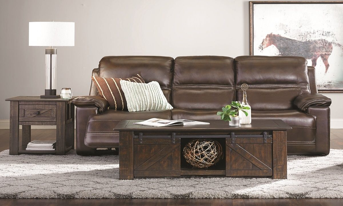 Picture of Top-Grain Leather Power Reclining Sofa with Power Headrest & Lumbar