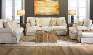 Picture of Two Lanes 89-Inch Classic Natural Slipcovered Sofa