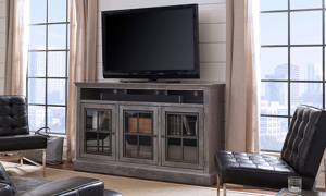 """Smoky gray 66"""" entertainment console with 3 glass paneled cabinets in living room"""