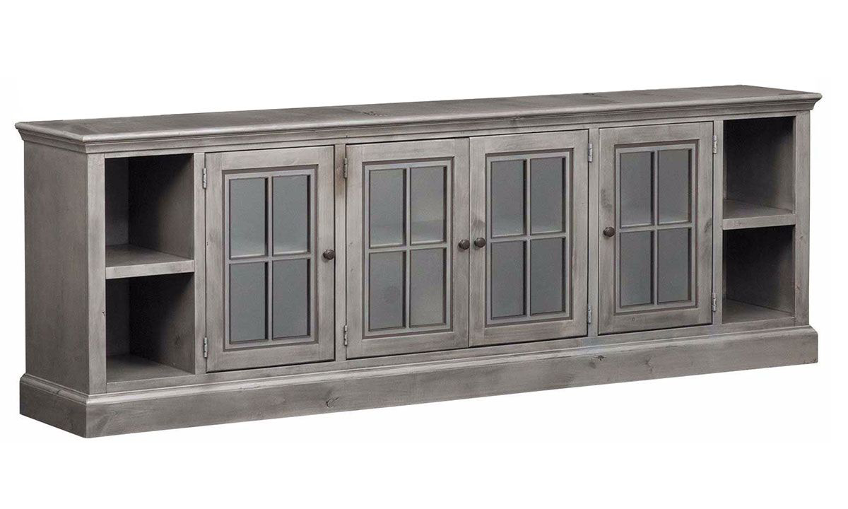 Traditional 96-inch entertainment console with 4 glass-paned cabinets and 4 open storage shelves in rustic gray finish