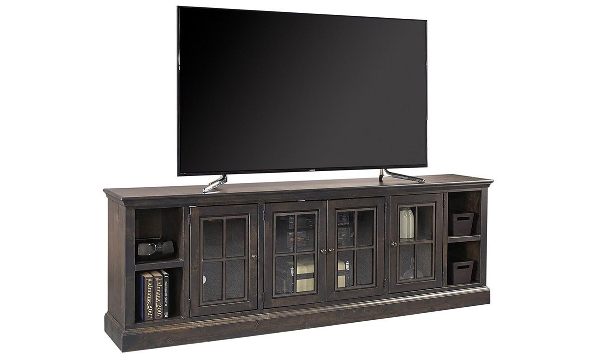 Traditional 96-inch entertainment console and TV stand with 4 glass paned storage cabinets and open shelving in ghost black finish